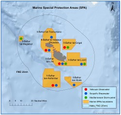 Map of the 8 marine Special Protection Areas (SPAs)