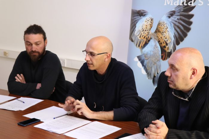BirdLife Malta CEO Mark Sultana, flanked by Conservation Manager Nicholas Barbara (left) and President Darryl Grima (right) addressing the media_Jose Luque Montero